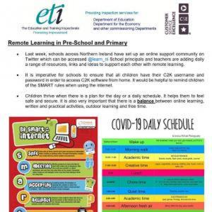ETI Remote Learning in Pre-school and Primary page