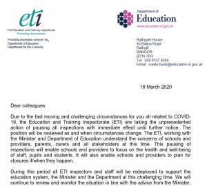 COVID-19 (Coronavirus) ETI response letter.