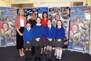 Chief Inspector with staff and pupils St Comgall's Primary School Bangor