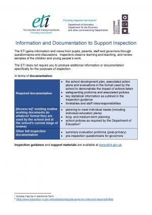Information and documentation to support inspection document front cover